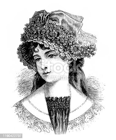 Illustration of a Victorian Fashion woman ,flowers hat
