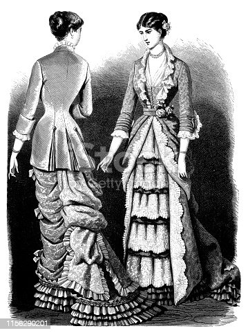 Illustration of a Victorian Fashion woman ,Dress embroidered with heavy silk and brocade from velvet