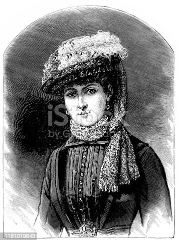 Illustration of a Victorian Fashion woman ,Rembrandt hat with steel mesh
