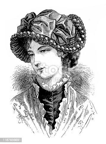 Illustration of a Victorian Fashion woman ,Spanish hat