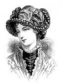 Illustration of a Victorian Fashion woman ,Spanish hat