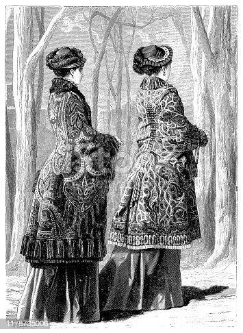 Illustration of a Victorian Fashion woman,tops from shawl with plush lining and fringes