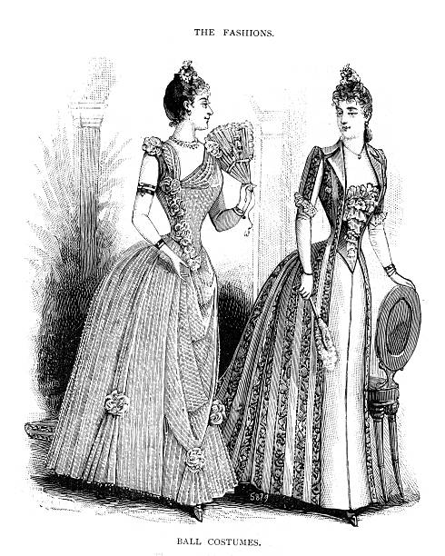 Victorian Fashion Young Woman 19th Century Vintage engraving of a young Victorian woman in the fashion of the day Ball Costumes circa 1860s corset stock illustrations