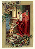 Victorian Father Christmas and Cupid