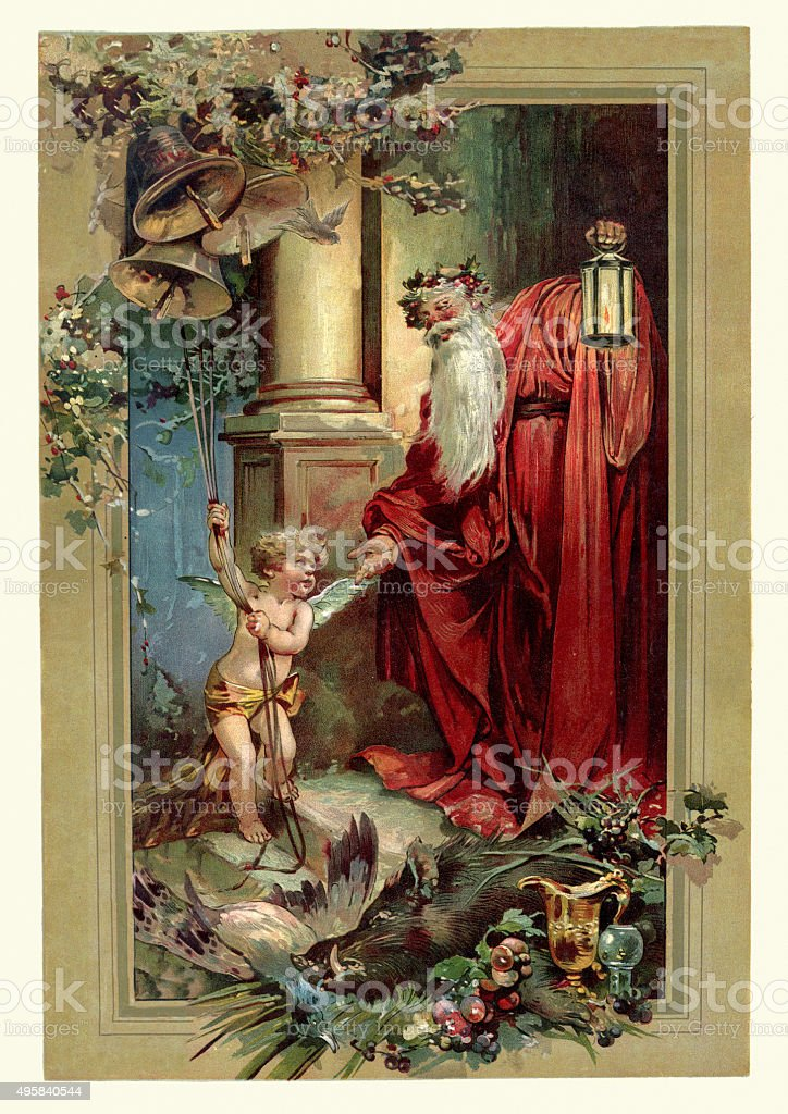 Victorian Father Christmas and Cupid vector art illustration
