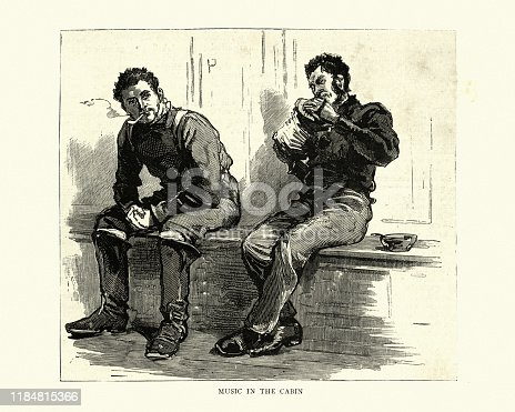 istock Victorian fisherman playing the concertina in cabin, 1880s 1184815366