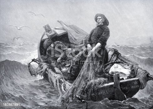 Vintage engraving showing a victoiran fisherman pulling his catch into his boat.