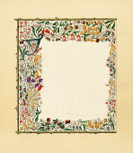 istock Victorian floral border with butterflies 179368325