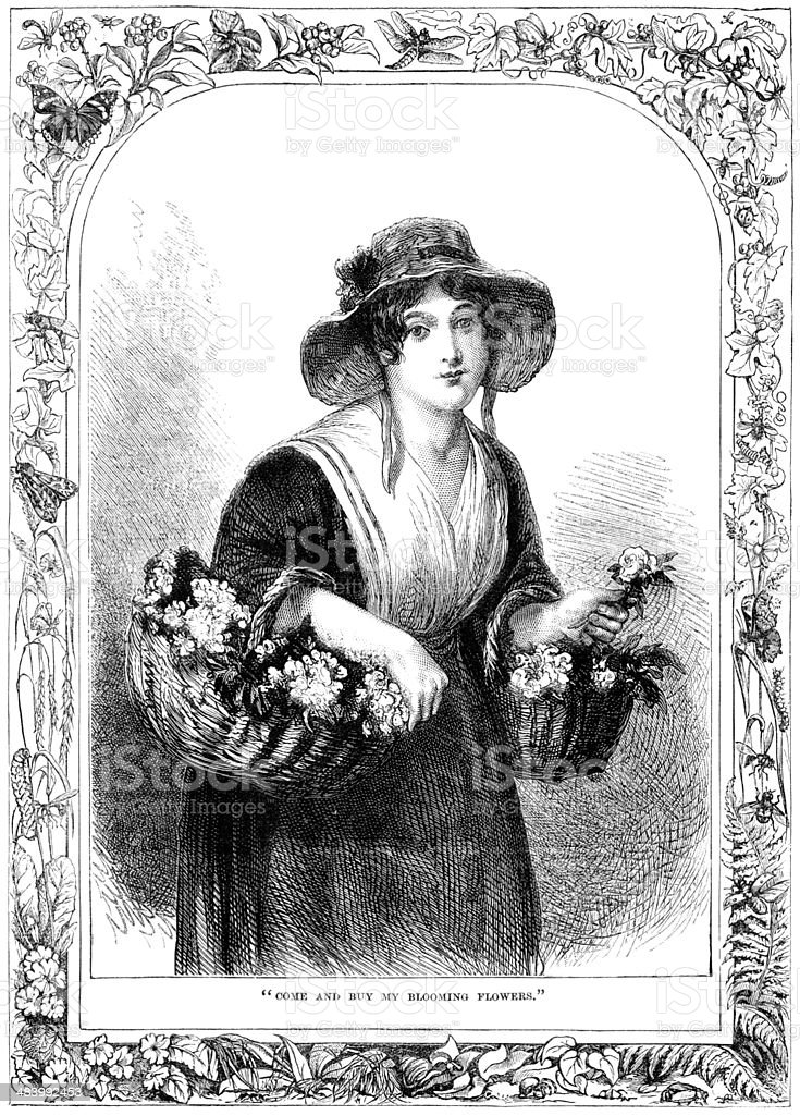 Victorian flower seller girl in decorative border royalty-free stock vector art