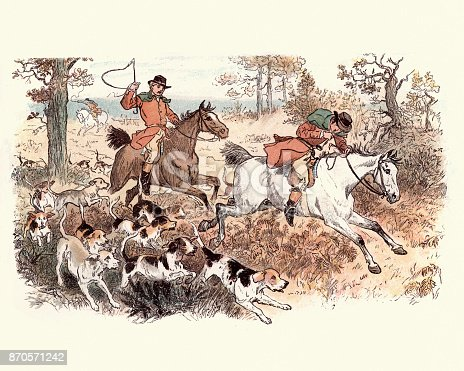 Vintage engraving of a scene from the Legend of the Laughing Oak by, Randolph Caldecott. Victorian fox hunt, 19th Century