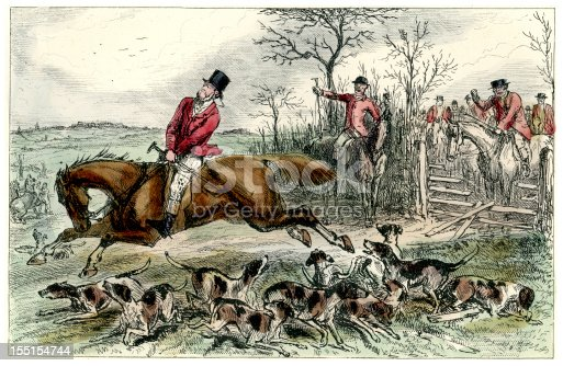 Vintage engraving from 1875 of people out fox hunting with the hounds and horses