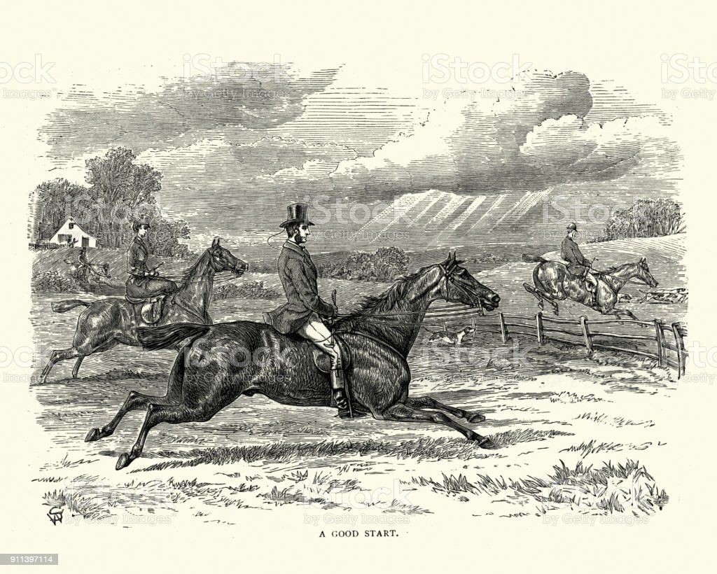 Victorian fox hunting party riding across countryside Vintage engraving of a Victorian fox hunting party riding across countryside 19th Century stock illustration