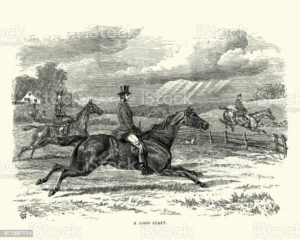 Victorian Fox Hunting Party Riding Across Countryside Stock Illustration - Download Image Now