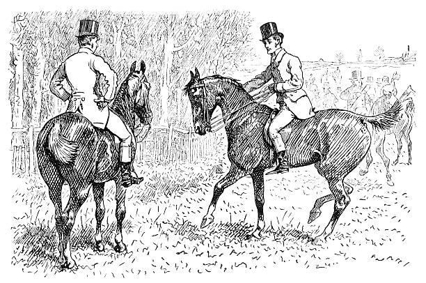 Antique Illustration Of Two Men On Horses Illustrations, Royalty