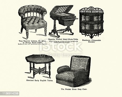 Vintage engraving of Victorian furniture, chairs and tables, 1880s, 19th Century