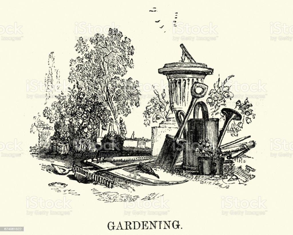 Victorian gardening equipment royalty-free victorian gardening equipment stock vector art & more images of 1880-1889