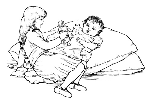 Victorian girl playing with a baby (engraving)