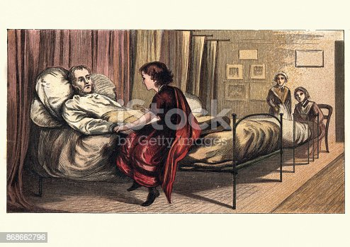 Vintage engraving of a Victorian girl visiting her father in hospital, 19th Century