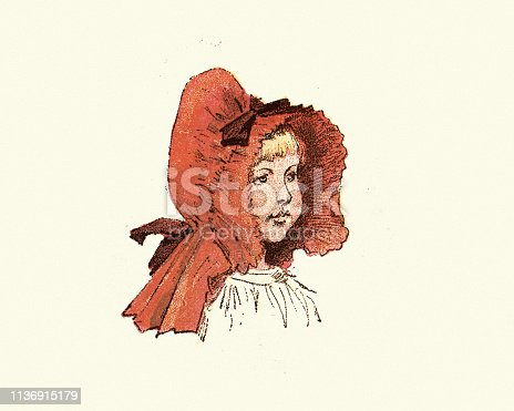Vintage engraving of Victorian girl wearing large red  bonnet, 19th Century