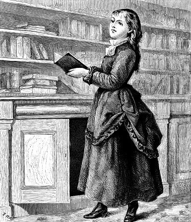 Victorian girl with books