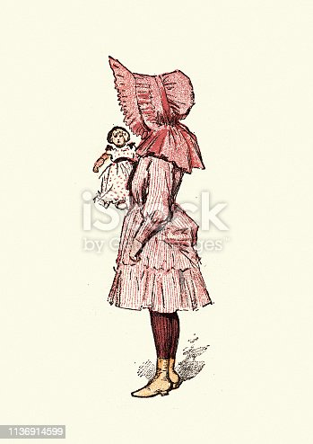 Vintage engraving of Victorian girl with doll wear large bonnet, 19th Century