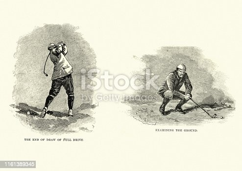 Vintage engraving of Victorian golf, full drive and examining the ground, 19th Century