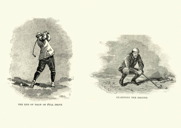 Victorian golf, full drive and examining the ground vector art illustration