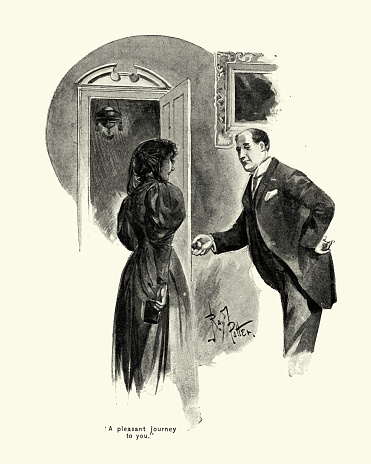 Victorian good manners, man holding door open for a woman