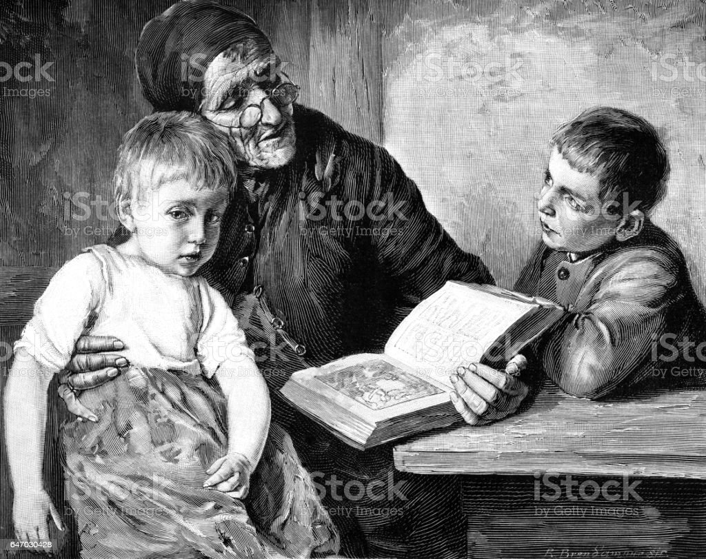 Victorian grandmother reading the Bible to her grandchildren vector art illustration