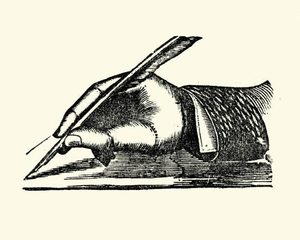 Victorienne main écrit avec une plume de plume - Illustration vectorielle