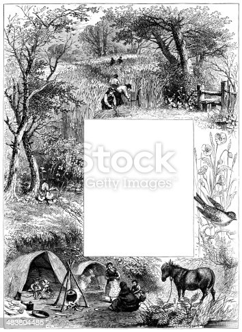 istock Victorian harvest time border 483804485