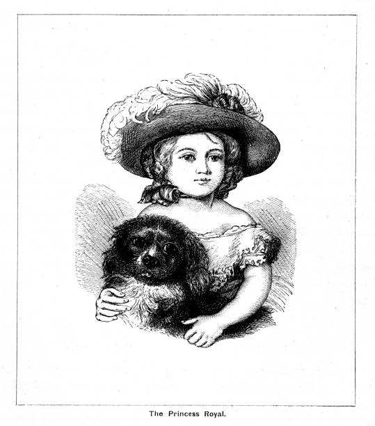 Victorian head and shoulders portrait of Princess Victoria with her pet dog complete with borders and text; 19th century English monarchy and queens vector art illustration