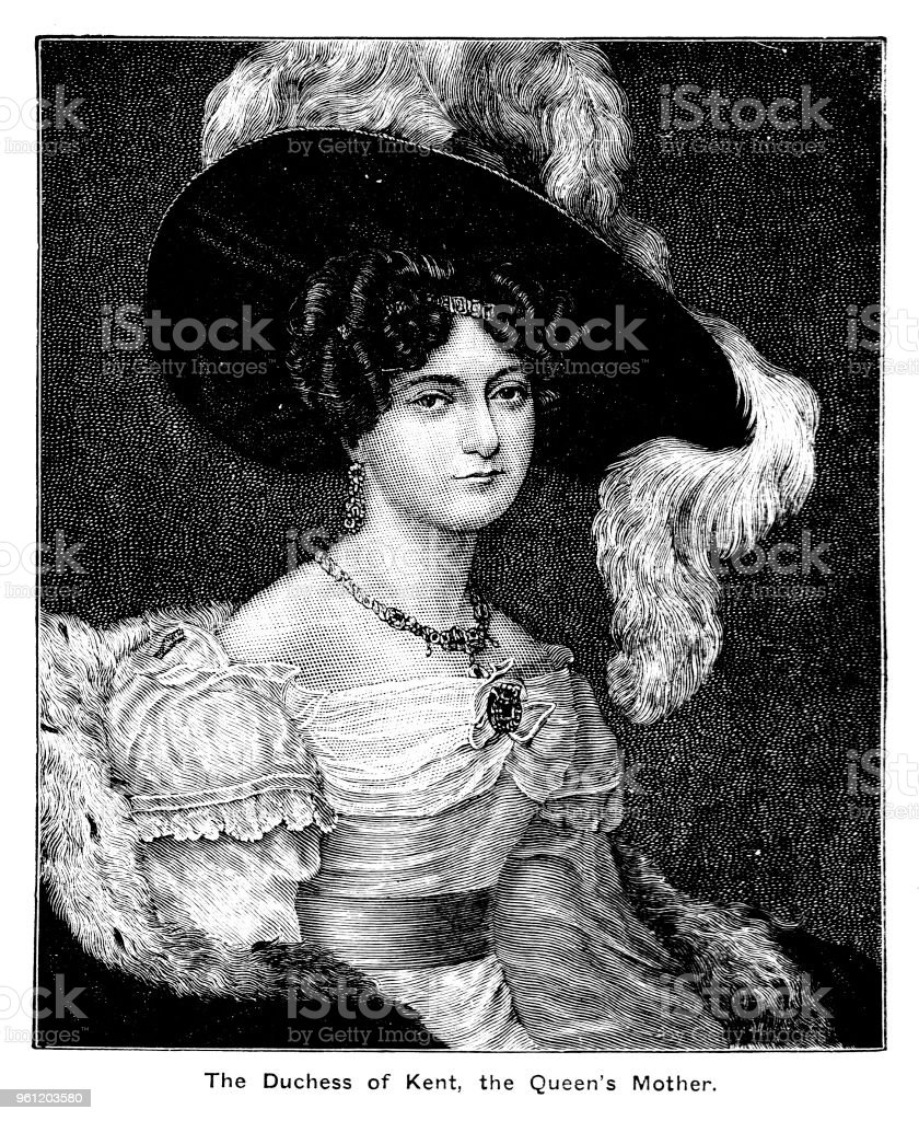 Victorian head and shoulders portrait the Duchess of Kent the mother of Queen Victoria complete with border and text; 19th century English monarchy and queens vector art illustration