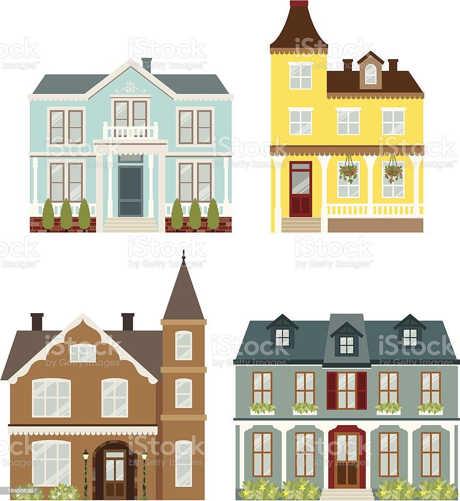 Victorian  Houses vector art illustration