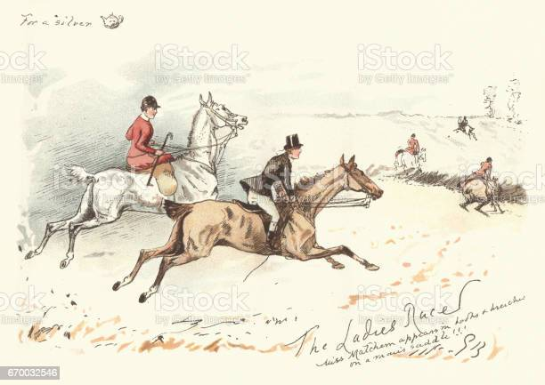 Victorian Hunters Rdiing Acoss A Field 19th Century Stock Illustration - Download Image Now