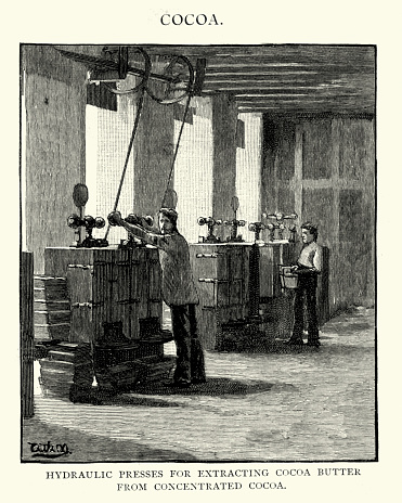 Victorian hydraulic presses for extracting cocoa butter