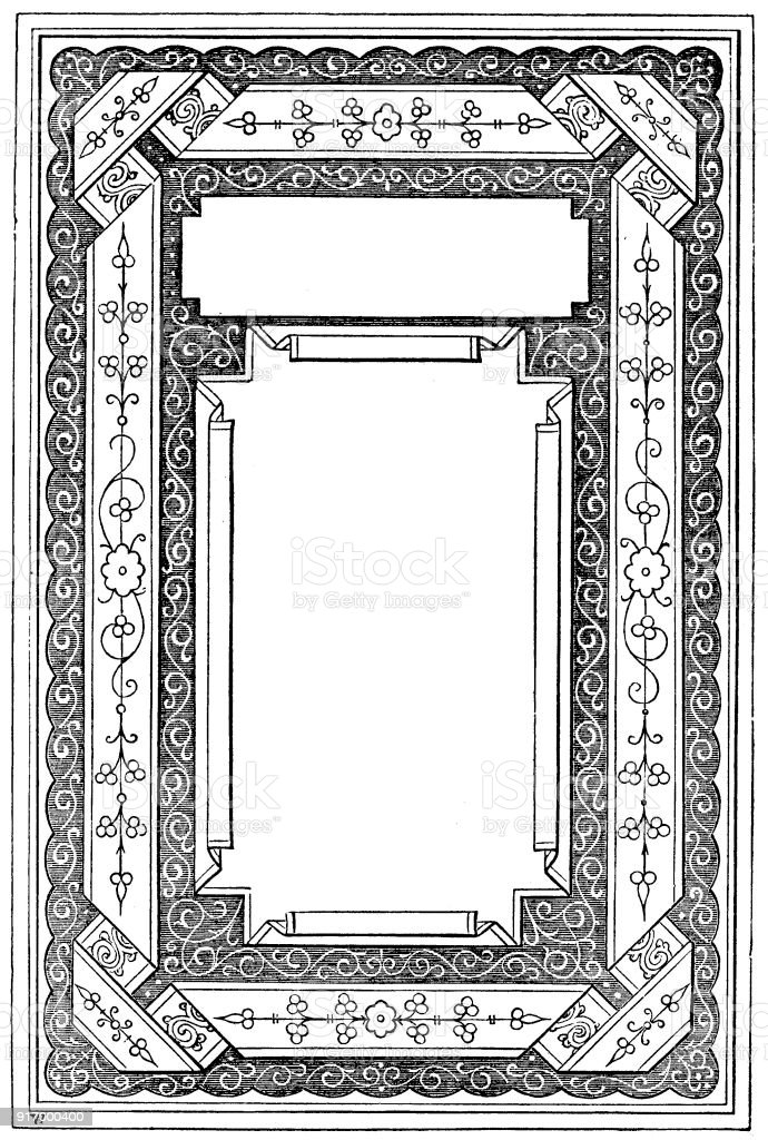 Victorian illustrated page style A with empty text boxes; 19th century ornate page decoration 1866 vector art illustration