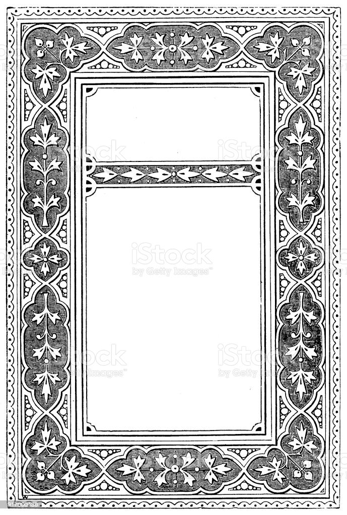 Victorian illustrated page style C with empty text boxes; 19th century ornate page decoration 1866 vector art illustration