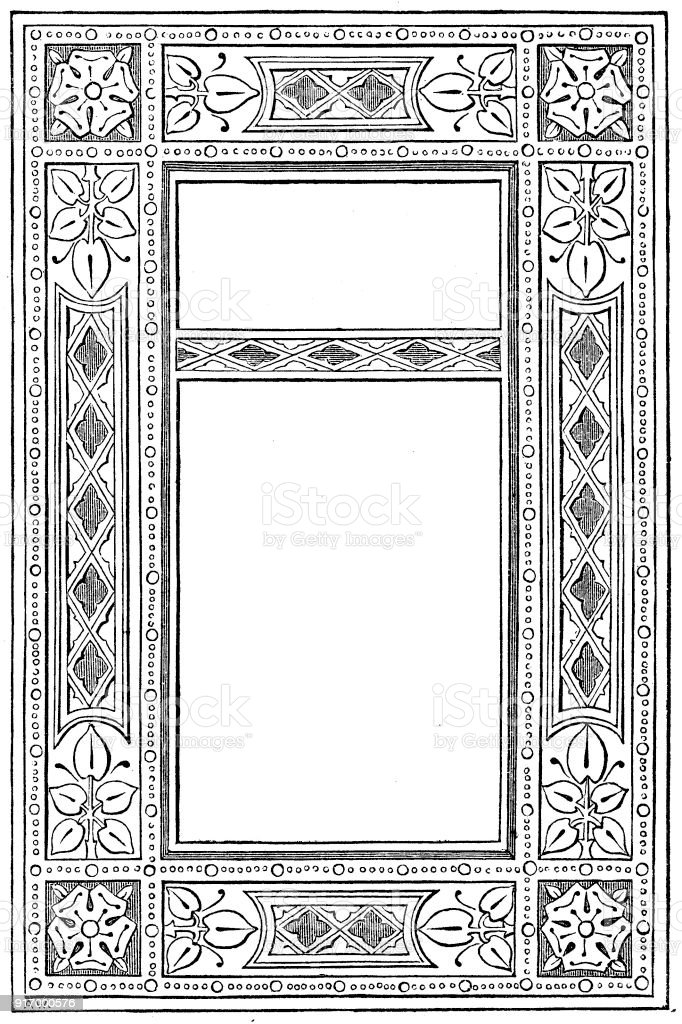 Victorian illustrated page style H with empty text boxes; 19th century ornate page decoration 1866 vector art illustration