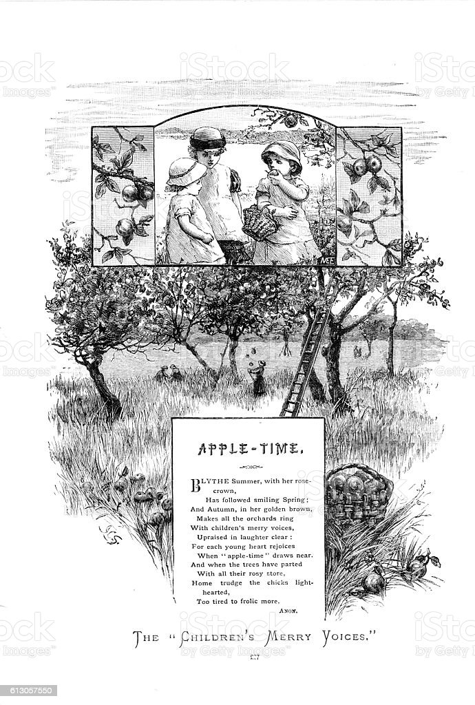 Victorian illustrated poem 'Apple Time' September in the orchards vector art illustration