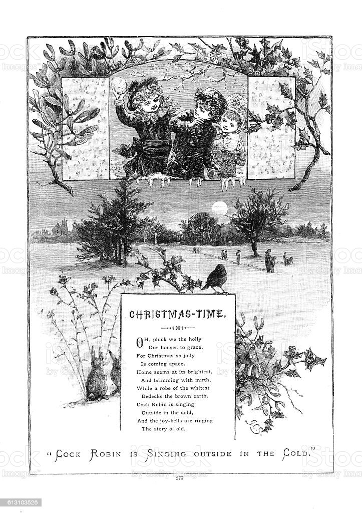 Victorian illustrated poem 'Christmas Time' children throwing snowballs vector art illustration