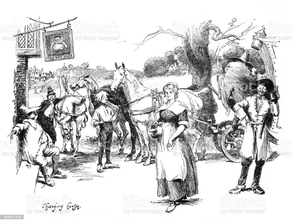 Victorian illustration 18th c coach and horses, people outside inn; artist Hugh Thomson vector art illustration