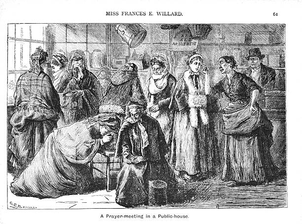 Victorian illustration American Temperance 'Prayer meeting in a Public House A 19th century illustration of women gathered together for a prayer meeting in an American public house. Part of the 'Women's Christian Temperance Union' as begun by a religious suffragette, Miss Frances Elizabeth Willard. suffragist stock illustrations