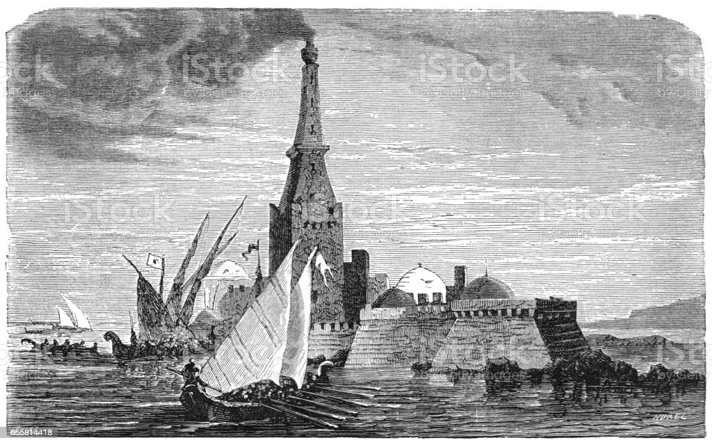 Victorian illustration ancient Roman pharos lighthouse of Alexandria Egypt vector art illustration