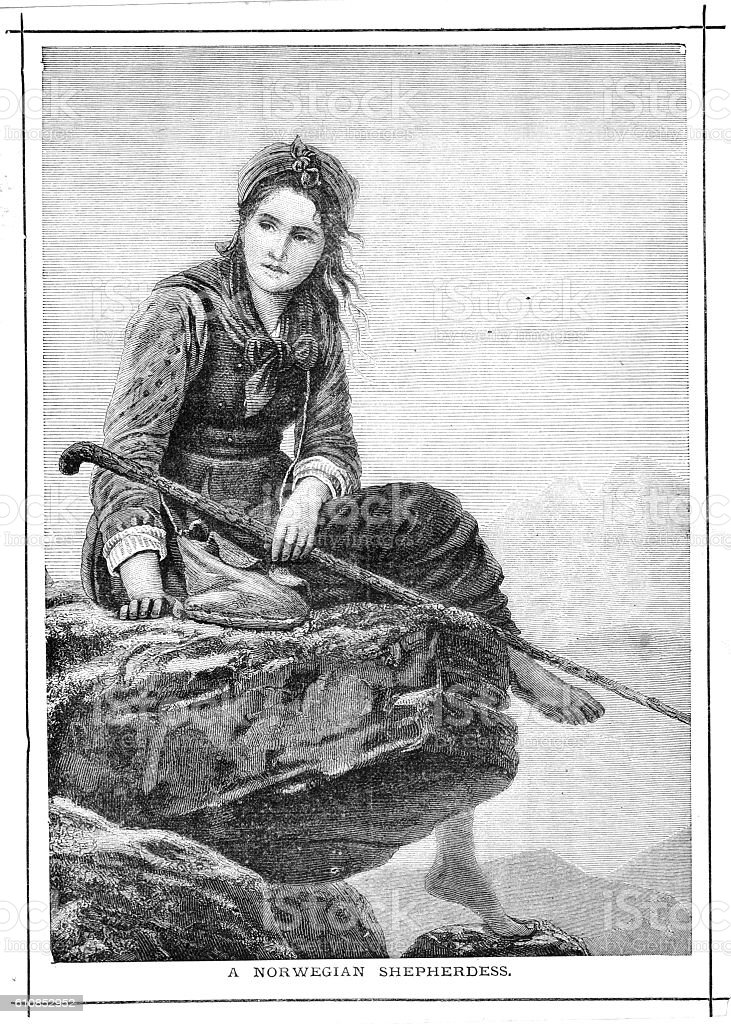 Victorian illustration barefoot Norwegian shepherdess sat on rock with vector art illustration