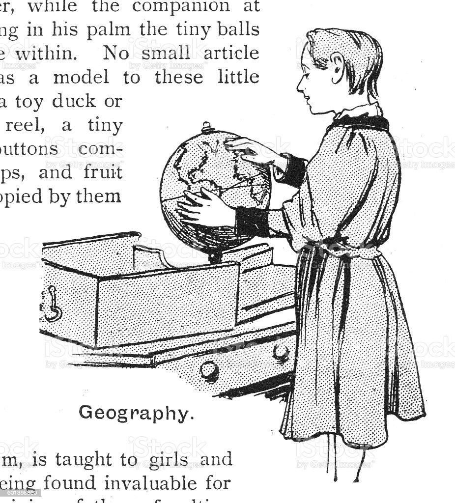 Victorian illustration blind child studying braille globe geography vector art illustration