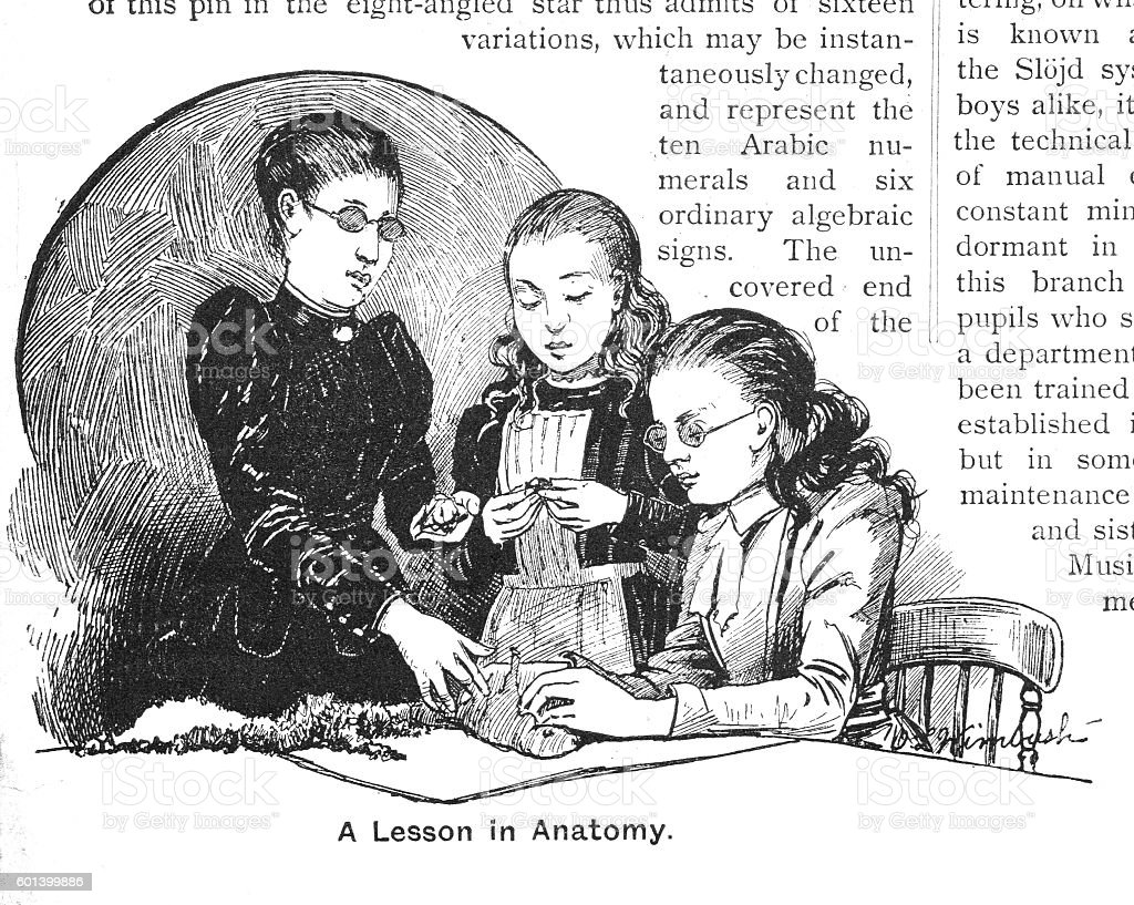 Victorian Illustration Blind Girls Being Taught Anatomy In Class ...