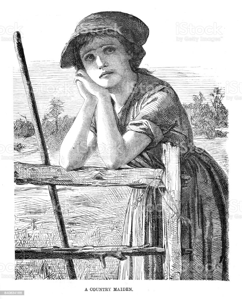 Victorian illustration entitled a Country Maiden a young girl leaning on a wooden gate staring off into the distance. 19th century country life. 1889 vector art illustration
