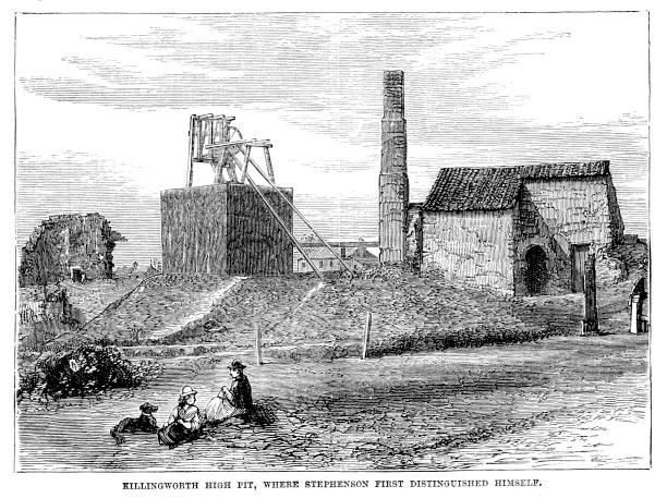 Victorian illustration entitled 'Killingworth High Pit, where George Stephenson first Distinguished Himself'; 19th century engineers and mining 1889 vector art illustration