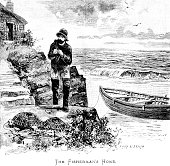 istock Victorian illustration entitled 'the Fisherman's Home' by artist Allan Barraud; depicting a fisherman pulling his boat ashore his cottage sits upon the cliff above and lobster pots on the shore; 19th century maritime life 1889 845287140